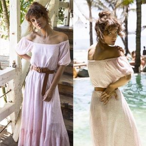 Paddo To Palmy Off The Shoulder Cassis Maxi Dress